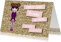 Uitnodiging vrolijke meiden kaart met glitter en glamour