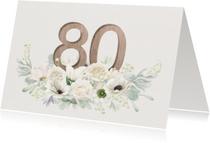 Uitnodiging witte bloemen 80 jaar