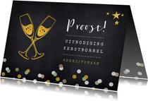 Uitnodiging zakelijk kerstborrel proost met champagneglazen