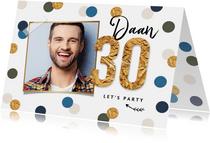Uitnodigingskaart confetti goud feest 30 foto