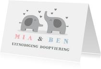 Uitnodigingskaart doop olifant tweeling foto's binnen