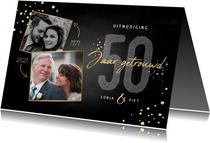 Uitnodigingskaart jubileum 50 jaar gouden spetters en foto's