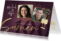 Uitnodigingskaart 'Samen 100' met goud, foto's en getal