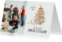 Umzugs-Weihnachtskarte Kartons mit Lichterkette