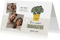 Umzugskarte Topfpflanze & Fotocollage