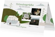 Urlaubskarte Berge und Wohnwagen mit Fotos