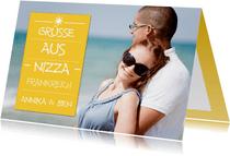 Urlaubskarte gelb großes Foto