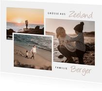 Urlaubskarte mit drei Fotos anpassbares Land