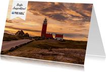 Urlaubskarte Watteninsel Texel mit Leuchtturm