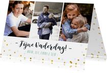 Vaderdag fotokaart met 3 foto's, confetti en namen