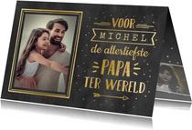 Vaderdag handlettering kaart met naam en foto - zwart goud