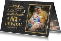 Vaderdag handlettering kaart voor opa met naam - zwart goud