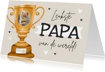 Vaderdag kaart kampioen leukste papa van de wereld beker