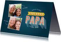 Vaderdag kaart typografie hele fijne vaderdag papa en foto's