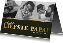 Vaderdagkaart fotocollage 'liefste papa' goud