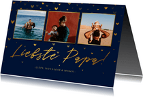 Vaderdagkaart fotocollage 'liefste papa!' met hartjes