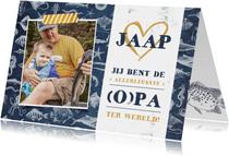 Vaderdagkaart voor vader of opa met vissen thema