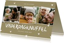 Vaderdagknuffel fotocollage met hartjes aanpasbaar