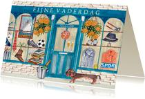 Vaderdagskaart met winkel vol mannen kado's