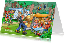 Vakantiekaart familie met tent en caravan op camping