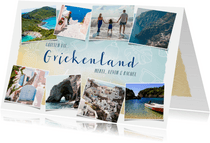 Vakantiekaart Griekenland fotocollage met zomerse doodles