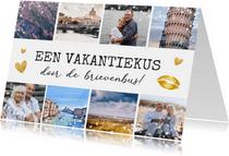 Vakantiekaart kus door de brievenbus - fotocollage 8 foto's