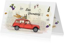 Vakantiekaart Renault vier rood Parijs