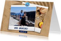 Vakantiekaart strand met groetjes uit en eigen foto