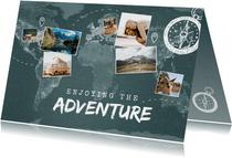 Vakantiekaart wereldreis wereldkaart fotocollage