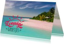 Vakantiekaart zonnige groetjes strand