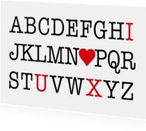 Valentijnskaart alfabet liefde