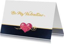 Valentijnskaart be my valentine roze hart