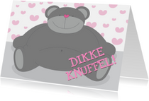 Valentijnskaart beer dikke knuffel