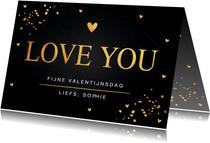 Valentijnskaart gouden confetti rechthoekig