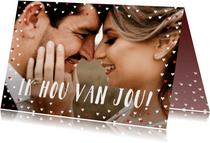Valentijnskaart grote foto liggend met goudlook hartjeskader