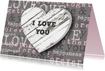 Valentijnskaart hart houtprint