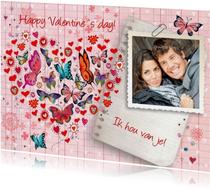 Valentijnskaart Hart Vlinder Ruitje Foto