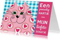 Valentijnskaart kat schatje