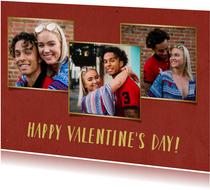 Valentijnskaart met 3 foto's met gouden fotokaders