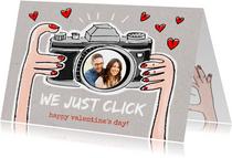 Valentijnskaart met camera we just click