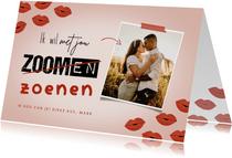 Valentijnskaart met foto ik wil met je zoenen kusjes corona