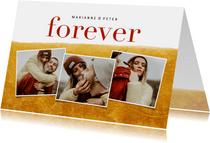 Valentijnskaart met goudlook, fotocollage en namen