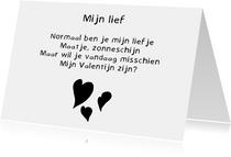 Valentijnskaart Mijn Lief - Gedicht