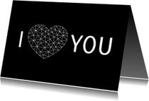 Valentijnskaart voor man met hart van low poly lijnen