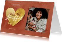 Valentijnskaart warme knuffel gouden hart en foto