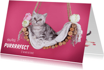Valentijnskaart - You're purrrfect - Kitten roze