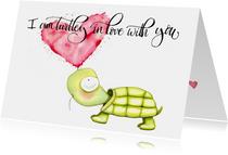 Valentijnskaarten - Valentijnskaarten Schildpad en hartjes