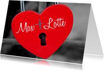 Valentijskaart hart op slot