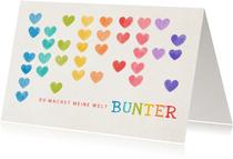 Valentinskarte Regenbogen Herzen