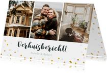 Verhuiskaarten - Verhuisbericht fotocollage kaart met 3 foto's en confetti